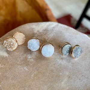 Jewelry - 3 FOR 1 DEAL Druzy Stud Earrings NWOT
